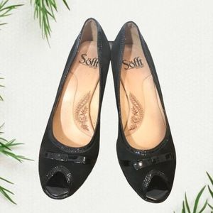 Sofft black suede peep toe pumps with bow detail